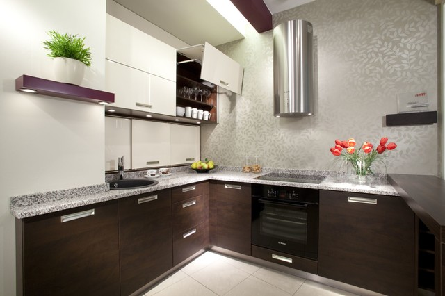 Veneer Kitchen Design with integrated handles - Modern - Kitchen ...