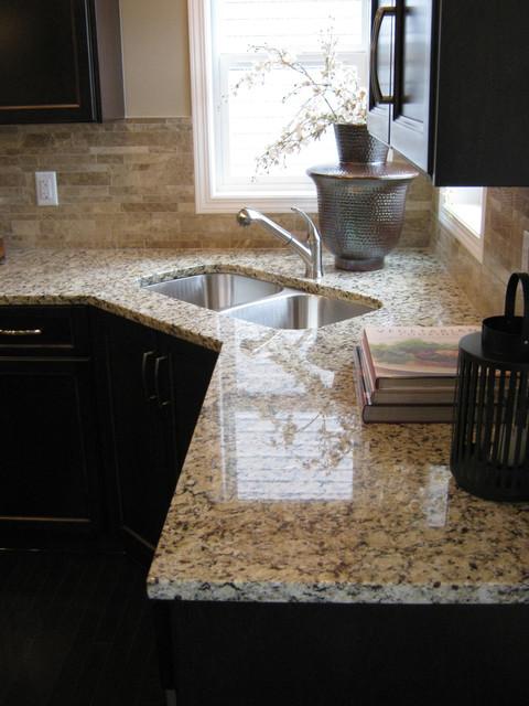 Venetian Ice Granite Transitional Kitchen