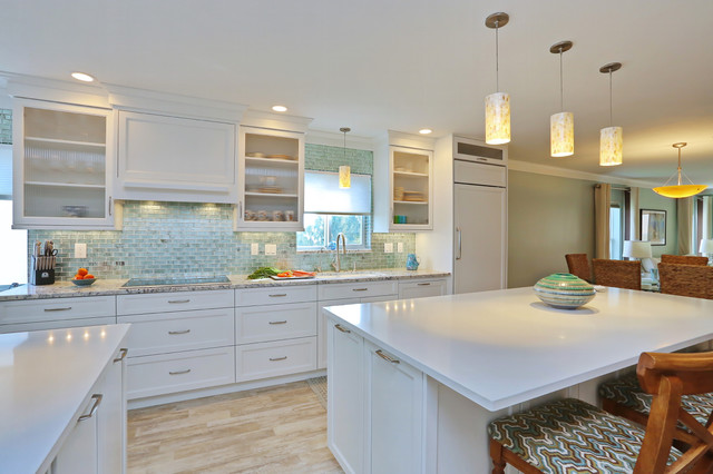 Venice, Florida Beach Style Kitchen with White Painted ...