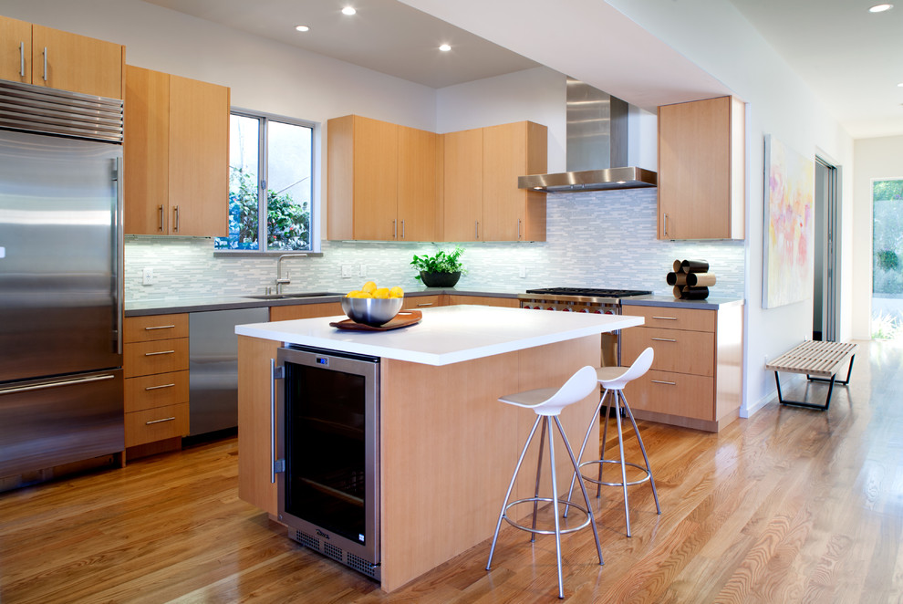 Kitchen - contemporary kitchen idea in Los Angeles with stainless steel appliances