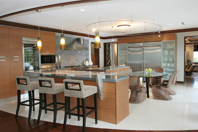 Large contemporary l-shaped linoleum floor and white floor open concept  kitchen idea in Miami