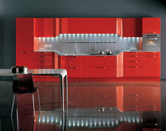 VENUS by Pininfarina design - Coral red high gloss lacquer contemporary kitchen
