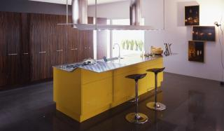 VENUS by Pininfarina design - Curry yellow high gloss lacquer and Ebony wood contemporary kitchen