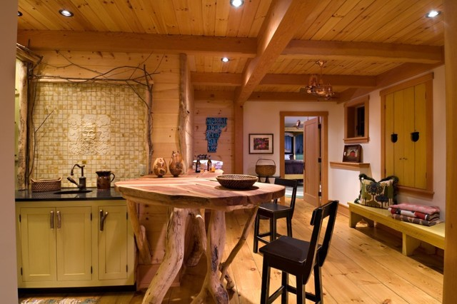 Vermont Timber Frame Residence eclectic kitchen