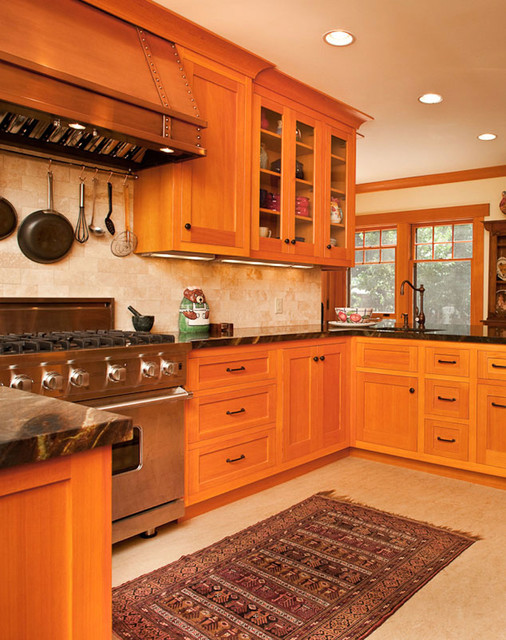 Vertical grain douglas fir kitchen traditional