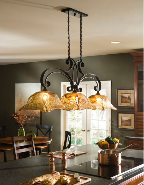 Vetraio Oil Rubbed Bronze Kitchen Island Light Toffee Art Glass by ...