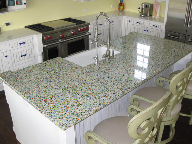 Vetrazzo Millefiori Recycled Glass Islands Traditional Kitchen