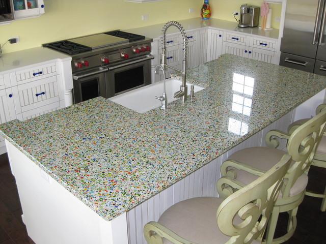 Vetrazzo Millefiori Recycled Glass Islands Traditional Kitchen