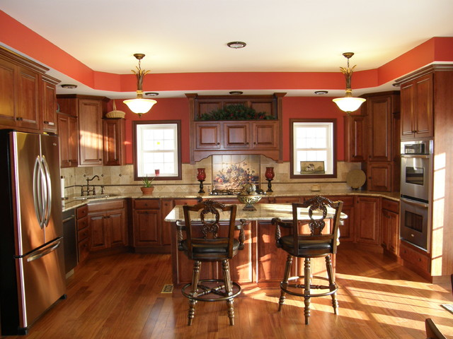 Vibrant Cherry Kitchen with granite countertop traditional-kitchen