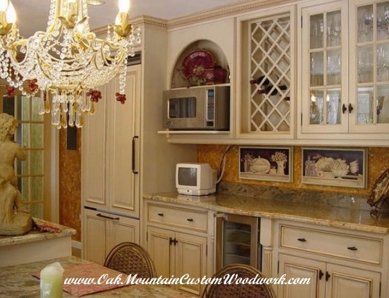 Victorian Kitchen With White Cabinets