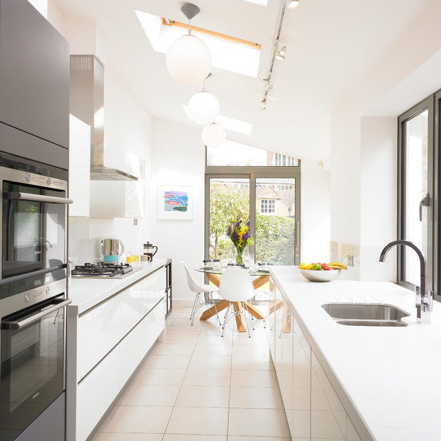 Contemporary galley eat in kitchen idea West Midlands with an undermount  sink flat Long Narrow Kitchen Houzz