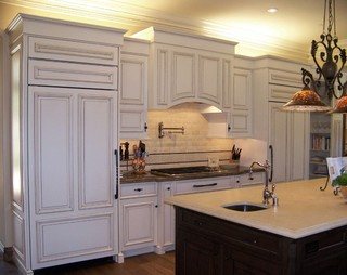 view of fridge range area 11394 | traditional kitchen