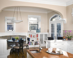 View of Kitchen Eating Area, custom banquette traditional-kitchen