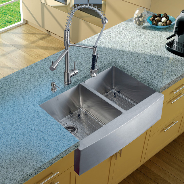 Vigo Stainless Steel Double Bowl Farmhouse Kitchen Sink Set Vg15093 Modern
