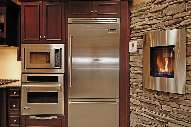 Viking Kitchen Appliances And Kozy Heat Nicollet Fireplace Kitchen