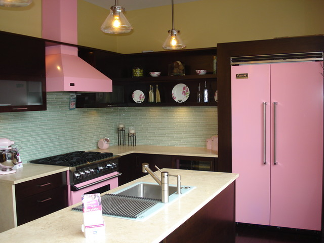 Viking Pink Kitchen Contemporary Kitchen Cleveland
