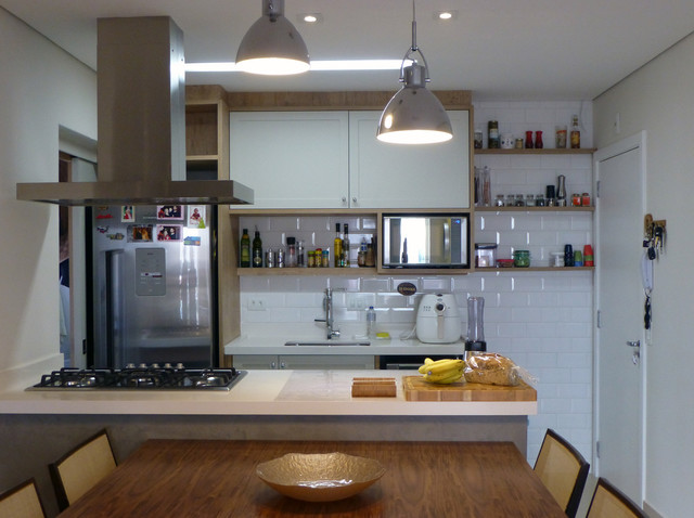 Example of a mid-sized trendy porcelain floor eat-in kitchen design in Other with a single-bowl sink, gray cabinets, quartzite countertops, white backsplash, porcelain backsplash, stainless steel appliances and an island