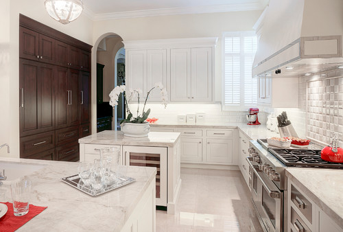 Traditional kitchen with Taj Mahal countertops