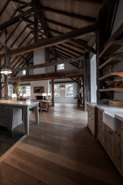 Vintage barn frame addition to dutch stone house Barn home interiors