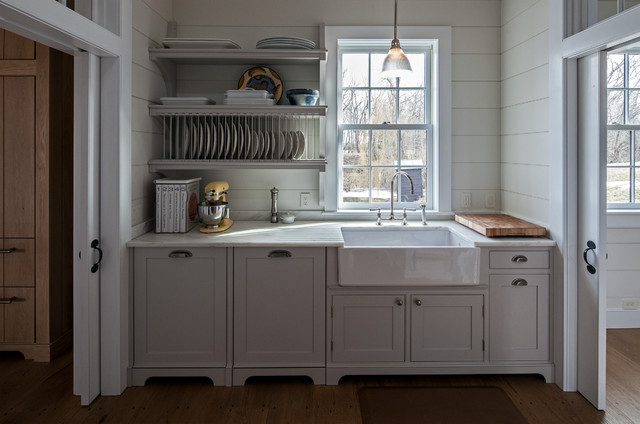 Vintage barn frame addition to Dutch stone house - Traditional - Kitchen - boston - by KATE ...