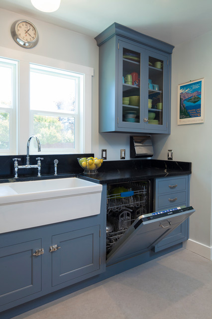 Vintage Blue Galley Kitchen Traditional San Francisco