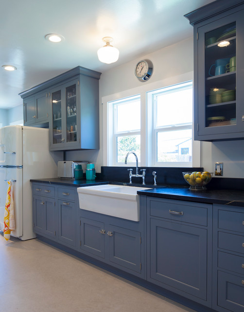 Vintage Blue Galley Kitchen Traditional Kitchen
