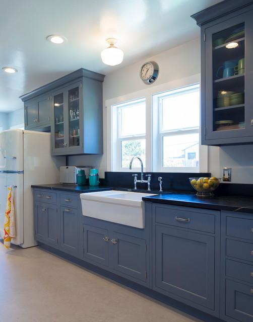 vintage blue galley kitchen - traditional - kitchen - san francisco