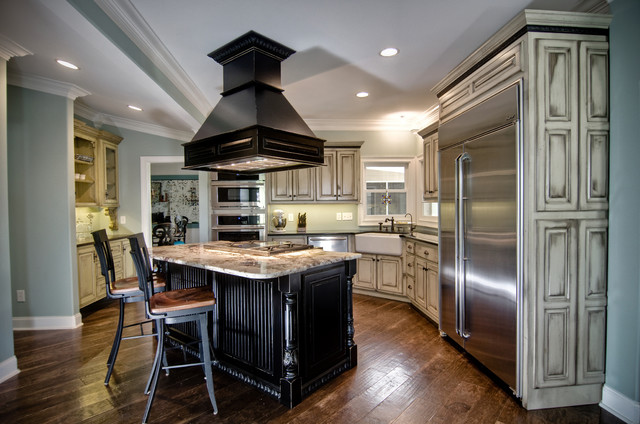Vintage Finish with coordinating Custom Vent Hood and Butler's Cabinet - Traditional - Kitchen ...
