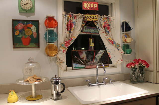 Vintage Inspired Kitchen Kitsch for sure! eclectic-kitchen
