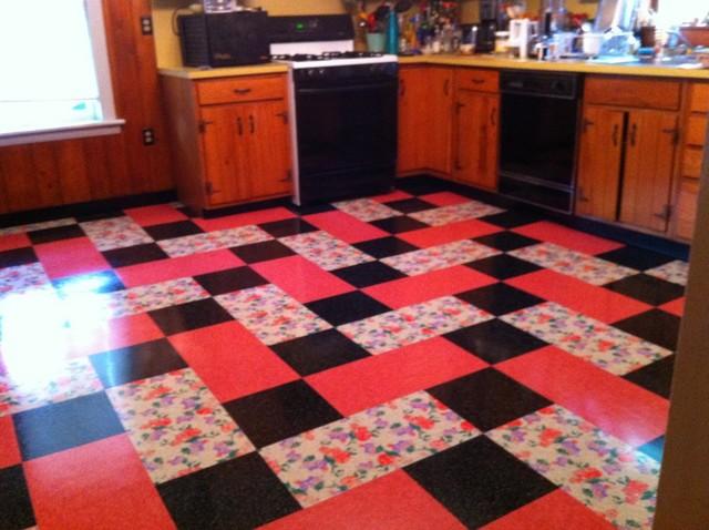 Vintage Kitchen Installed Flooring Vinyl Printed Vinyl