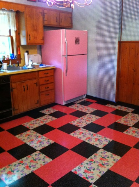 Vintage Kitchen Installed Flooring Vinyl Printed Vinyl Tile ...