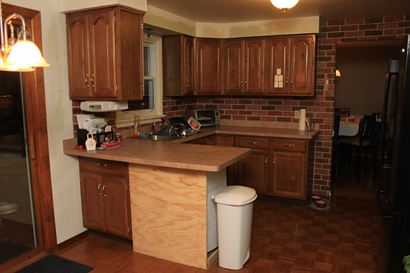 Vinyl Brick Wallpaper In The Kitchen Traditional