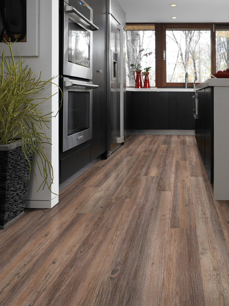 Inspiration for a mid-sized rustic vinyl floor kitchen remodel in Austin