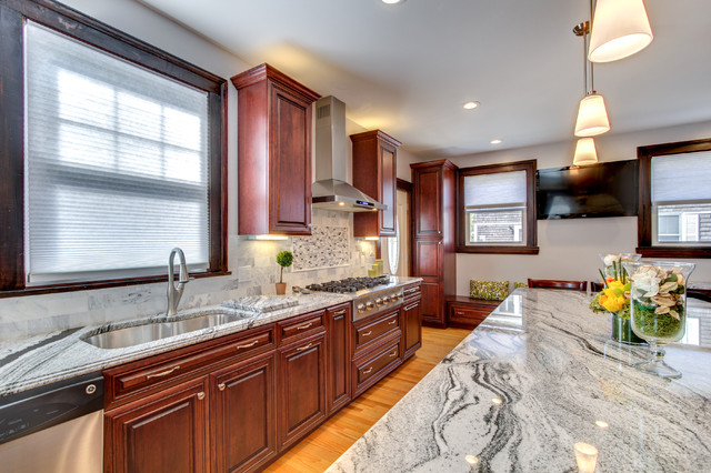 Viscont White granite countertops with Cherry cabinets - Contemporary ...