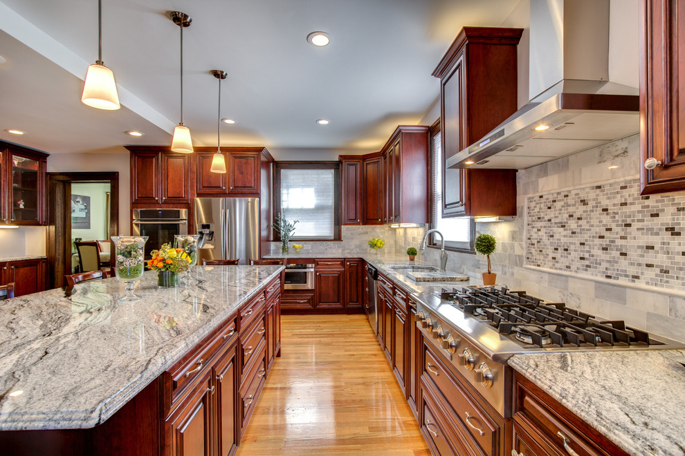 Viscont White Granite Countertops With Cherry Cabinets Contemporary Kitchen Boston By Stone Projects