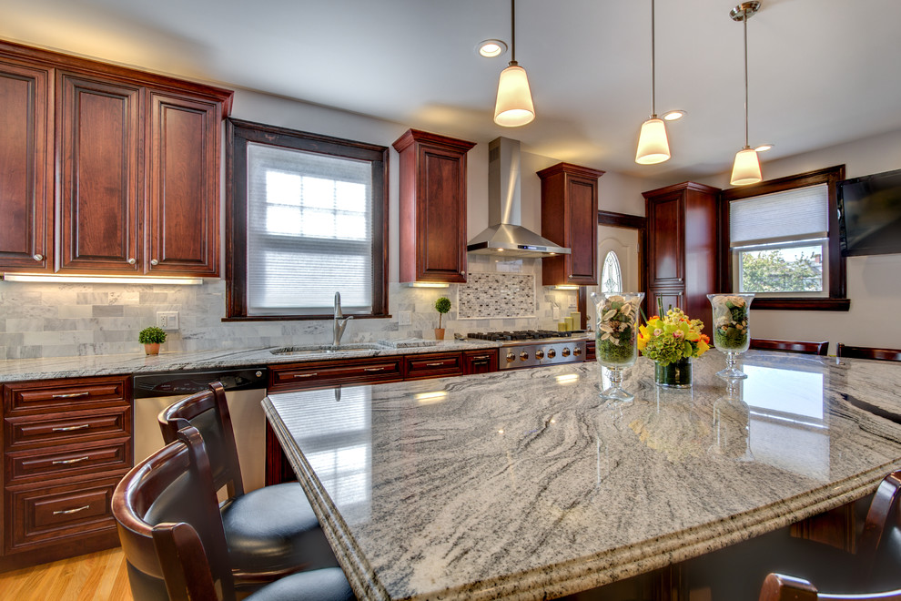 Viscont White granite countertops with Cherry cabinets ...