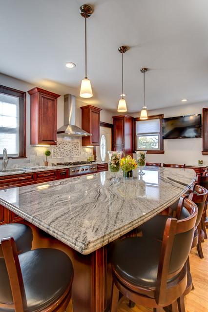 Viscont White Granite Countertops With Cherry Cabinets Contemporary Kitchen