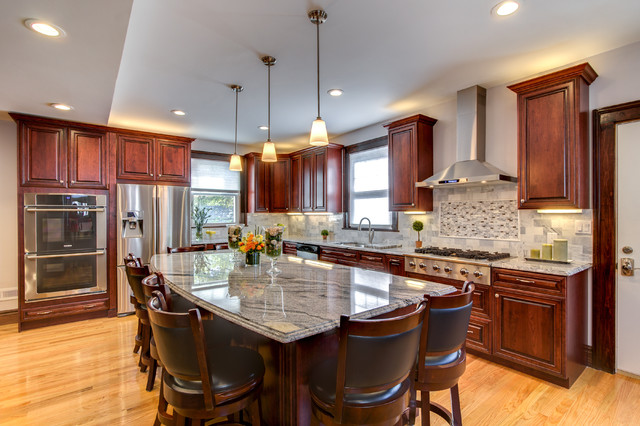 Pleasant Viscont White Granite Countertops With Cherry Cabinets Home Remodeling Inspirations Gresiscottssportslandcom