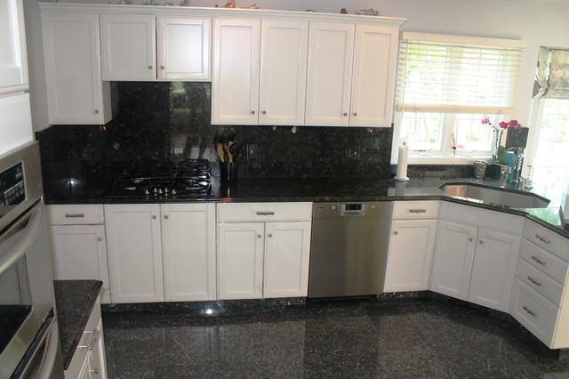 Volga blue full backsplash kitchen providence by for Black white and blue kitchen ideas