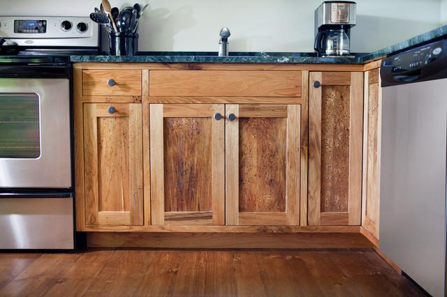 Vt ski house kitchen renovation rustic kitchen for Kitchen cabinets vermont