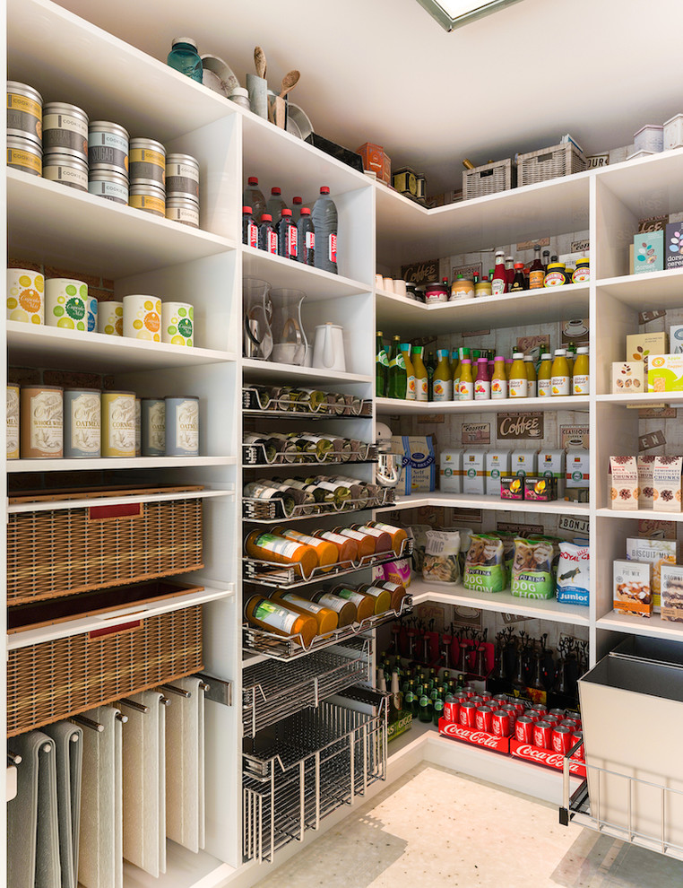 Inspiration for a mid-sized modern l-shaped kitchen pantry remodel in Los Angeles with white cabinets and open cabinets