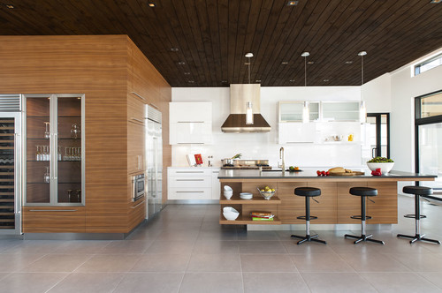 Timeless black leather barstools in the kitchen