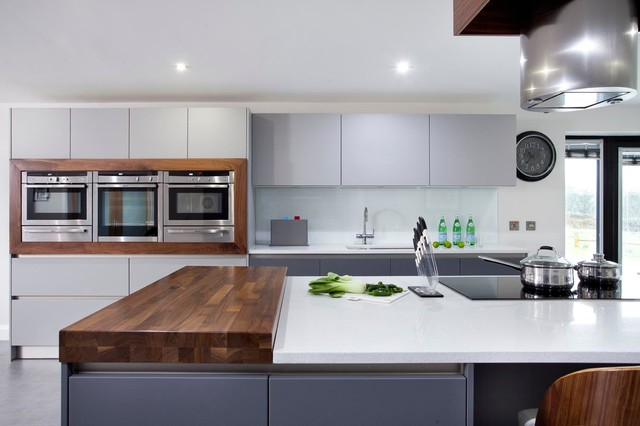 Walnut & Grey Schuller Kitchen - Contemporary - Kitchen - other metro - by The Design Yard