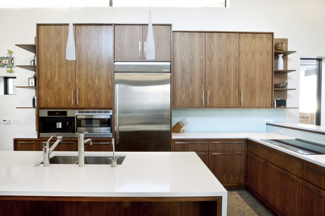 Walnut And White Kitchen Modern Denver By