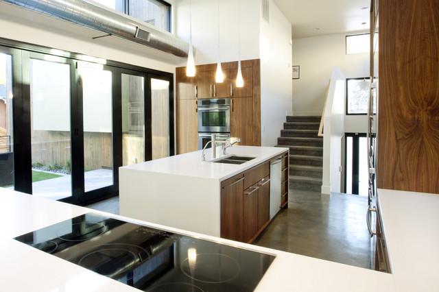 Walnut And White Kitchen Modern