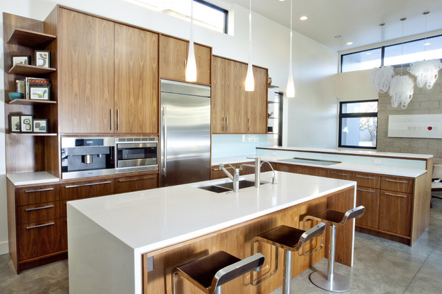 Walnut And White Kitchen Modern Kitchen Denver By