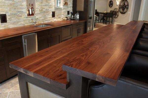 Walnut Bar Top And Perimater Countertopcontemporary Kitchen Atlanta