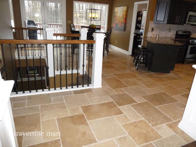 Travertine Kitchen Floor : Walnut brushed chiseled travertine tile flooring tiles
