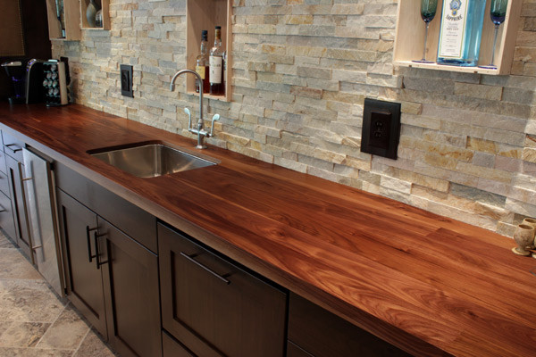 Walnut Countertop With Undermount Sink Contemporary Kitchen
