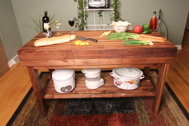 Walnut Edge Grain Butcher Block Kitchen Island Cart Craftsman Kitchen Detroit By Mcclure Tables Houzz Nz